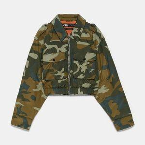 NWOT Zara Camouflage Cropped Puffer Jacket S